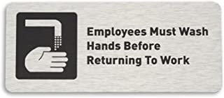 "Employees Must Wash Hands Restroom Sign, Brushed Aluminum (7""W x 3""H) - by GDS"
