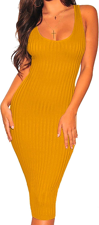 Women's Sexy Bodycon Tank Dresses Sleeveless Ribbed Knit Midi Club Dresses