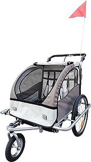 comprar comparacion HOMCOM Remolque Infantil para Bicicleta 2 PLAZAS Rueda Giratoria 360° Amortiguadores BARRA INCLUIDA Kit Footing BEIGE