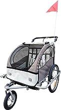 HOMCOM Remolque Infantil para Bicicleta 2 PLAZAS Rueda Giratoria 360° Amortiguadores BARRA INCLUIDA Kit Footing BEIGE
