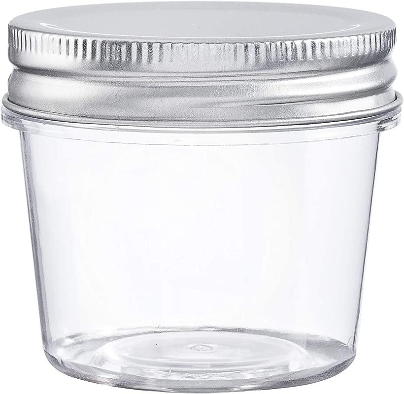Darice 30066471 Plastic Lids 4 Ounces 10 Pack Storage Jars Clear
