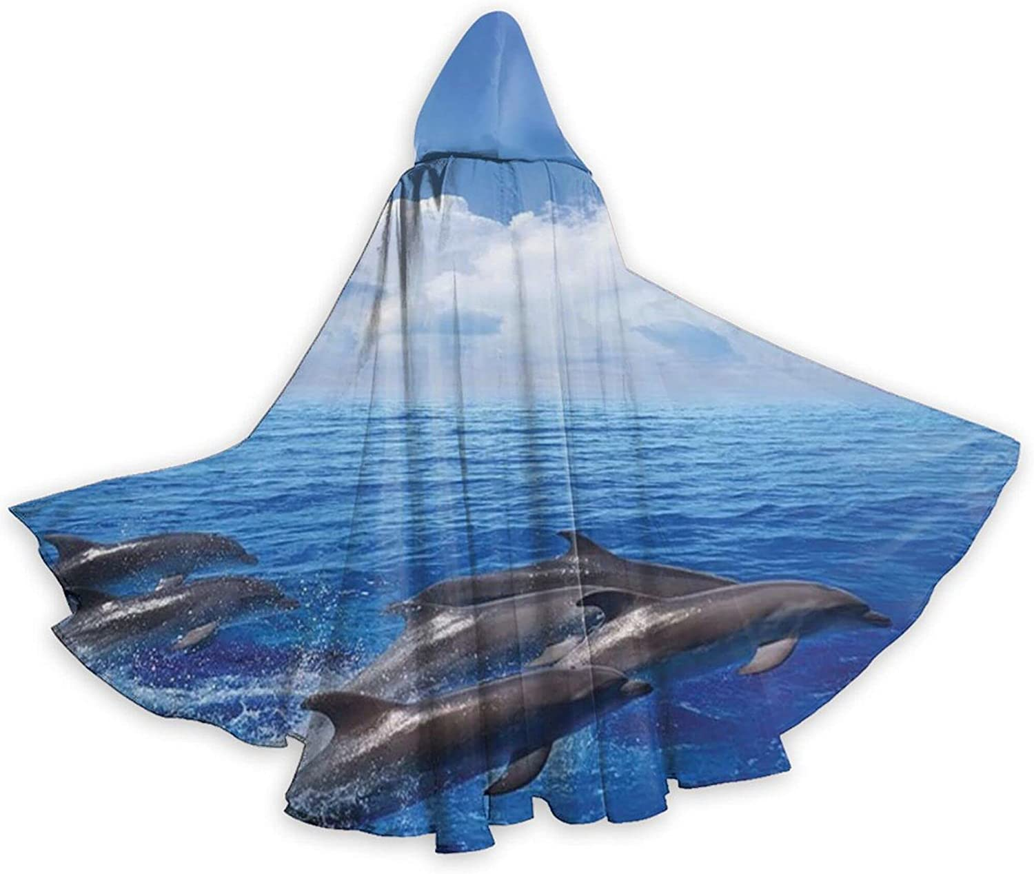 Cloak Dolphins Jumping In Clear Sea Mar Clouds Max 66% OFF overseas And Fluffy Sky