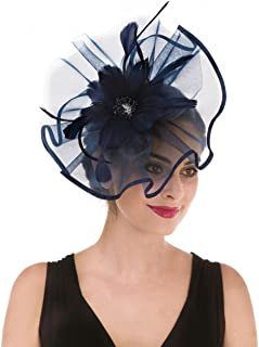 Fascinators Hat Flower Feather Net Mesh Kentucky Derby Tea Party Headwear with Hair Clip and Hairband for Women