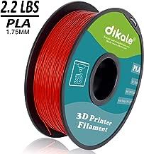 dikale PLA 3D Printer Filament - 1KG(335m/1099ft) 1.75mm, Dimensional Accuracy +/- 0.02 mm, 1KG Spool 1.75 mm, RED(Suitable for Ender 3 3D Printer etc)