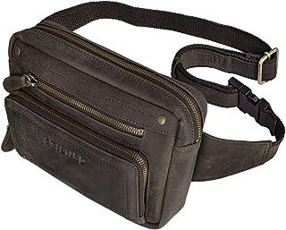 """STILORD Lou"""" Gürteltasche Hüfttasche Leder Vintage Bauchtasche für Herren Damen Kinder Cross Body Belt Bag für Jogging Festival Urlaub Handy Echt Leder, Farbe:dunkel - braun"""