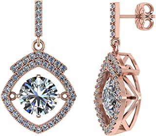 Solid 925 Sterling Silver Gold Plated Square Halo Dancing Stone Earrings w/Swarovski Zirconia (Rose)