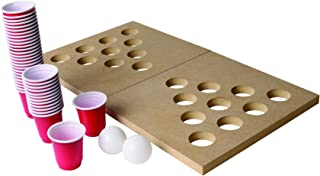 Ideas In Life Mini Wooden Beer Pong or Shot Pong Set – Foldable Portable Travel Board Classic Juice Party Drinking Game Complete Set