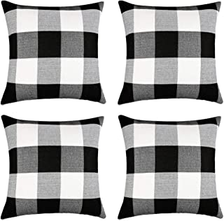 SJEhome Classic Buffalo Check Throw Pillow Covers Plaid Cotton Linen 18X18 Inch Dcortive Cushion Cover Pillowcase for Sofa Car Bed and Chair, Set of 4 Black and White