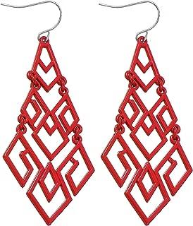 D EXCEED Women's Chandelier Drop Earrings Gift Wrapped Fashion Gold Cutout Tiered Dangle Drop Earrings