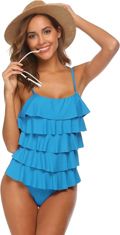 MAXMODA Ruffle Swimsuit One Piece Bathing Suits Tummy Control Flounce Swimwear