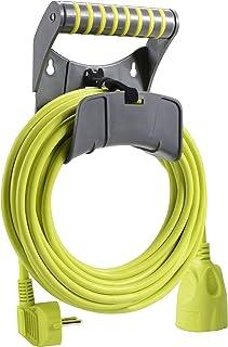 Masterplug Verlängerungskabel 10m Kabel, Stromkabel mit Schutzkontakt und Wandhalterung, Stromverteiler für Innen und Außen