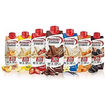 Premier Protein High Protein Shakes Variety Pack (Chocolate, Vanilla, Strawberry & Cream, Bananas & Cream, Caramel, Peaches & Cream, Cookies & Cream - 11 fl. oz, 7 pack)