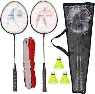 Hipkoo Sports Power 04 Badminton Set (Badminton Rackets Set of 2, 3 Shuttlecock and Net with Carry Bag)