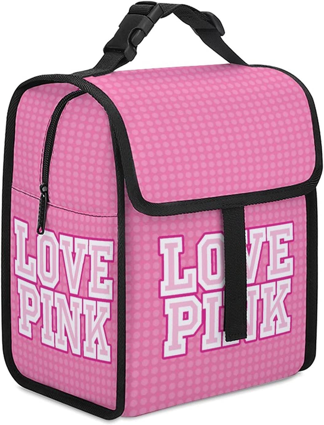 9L Love Pink Lunch Bag,Lunch Boxes Portable Reusable Lunch Boxes Meal Prep Handbag Beach Cooler Bag for Women/Men,Insulated Lunch Box Bag for Office Work Beach Picnic