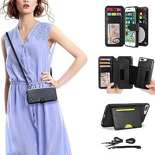 Cornmi iPhone 8 Plus Wallet Case,Detachable Wallet Leather Cover 13 Card holders, Wristlet and Shoulder Strap Handbag Purse Flip Stand Slim Mirror case Compatible with iPhone 6/7/8 Plus - Black