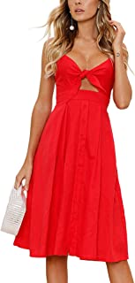 Womens Dresses-Summer Spaghetti Strap Tie Front Button Down Sexy Backless Midi Dress