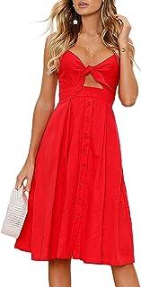 Yidarton Womens Dresses-Summer Spaghetti Strap Tie Front Button Down Sexy Backless Midi Dress