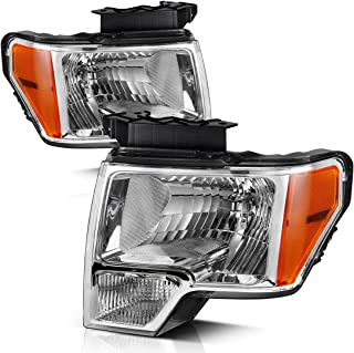 For 09 10 11 12 13 14 Ford F150 Pickup Headlight Assembly, OE Direct Replacement Headlamp,Chrome Housing Clear Lens with Chrome Trim