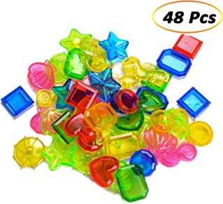 eborder 48 Pieces Sinking Dive Gem Pool Toy Jewels Underwater Swimming Toy Sinking Diving Gems Colorful Acrylic Gemstones for Pool Party Favors, 8 Styles