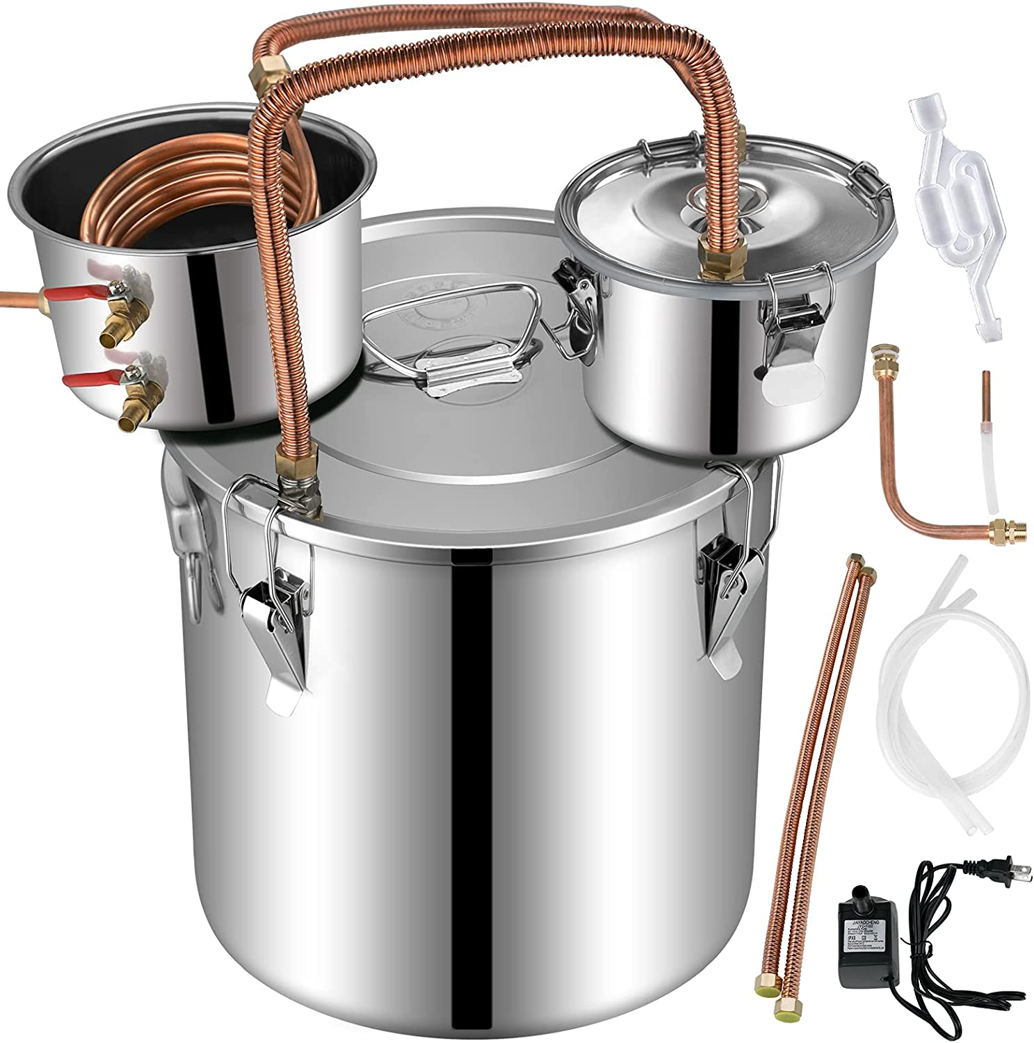 5 Gallon Moonshine Still Stainless Steel Water Alcohol Distiller with Copper Tube 21L Home Brewing Making Kit with Thumper Keg for Whisky Fruit Wine Brandy Built-in Thermometer (5 Gal)