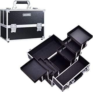 Frenessa Makeup Train Case 12 inch Large Portable Cosmetic Case - 6 Tier Trays Professional...