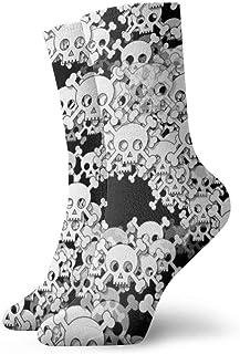 Tammy Jear, Calcetines cortos para adultos con calavera blanca superpuesta Calcetines divertidos para hombres Mujeres Yoga Senderismo Ciclismo Correr Fútbol Deportes