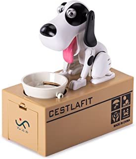 Cestlafit Cute Choken Bako Cachorro Hambriento Comiendo Perro Coin Bank , Huchas Infantiles, Huchas Originales, Coin Munching Toy Money Box
