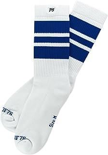 Spirit of 76, Los Blue Blues | Calcetines retro de rayas de alto medio | rayas blancas, azules | calcetines unisex estilizados entubados