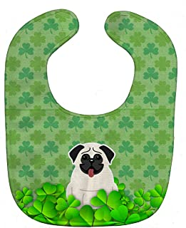 Caroline's Treasures Shamrocks Baby Bib, Pug Cream, Large