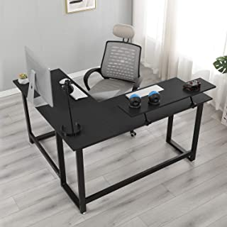sogesfurniture 59 x 51.2inches Large L Shaped Office Computer Desk with Shelf Laptop Office Desk Workstation Corner Desk, Black BHUS-DX-056-BK