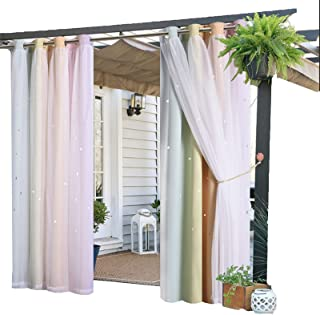 Patio Blackout Outdoor Curtains, Waterproof Thermal Insulated Curtains Weather Resistant Patio Gazebo Sunscreen Curtains, ...