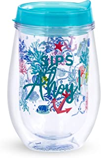 Vera Bradley Women's Wine Glass with Lid Shore Thing One Size