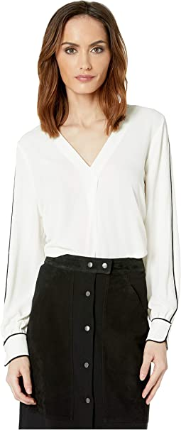 Long Sleeve Soft Texture Contrast Piping V-Neck Blouse
