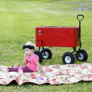 Clevr 80 Quart Wagon Cooler Rolling Party Ice Chest, Red, w/Long Handle and 10