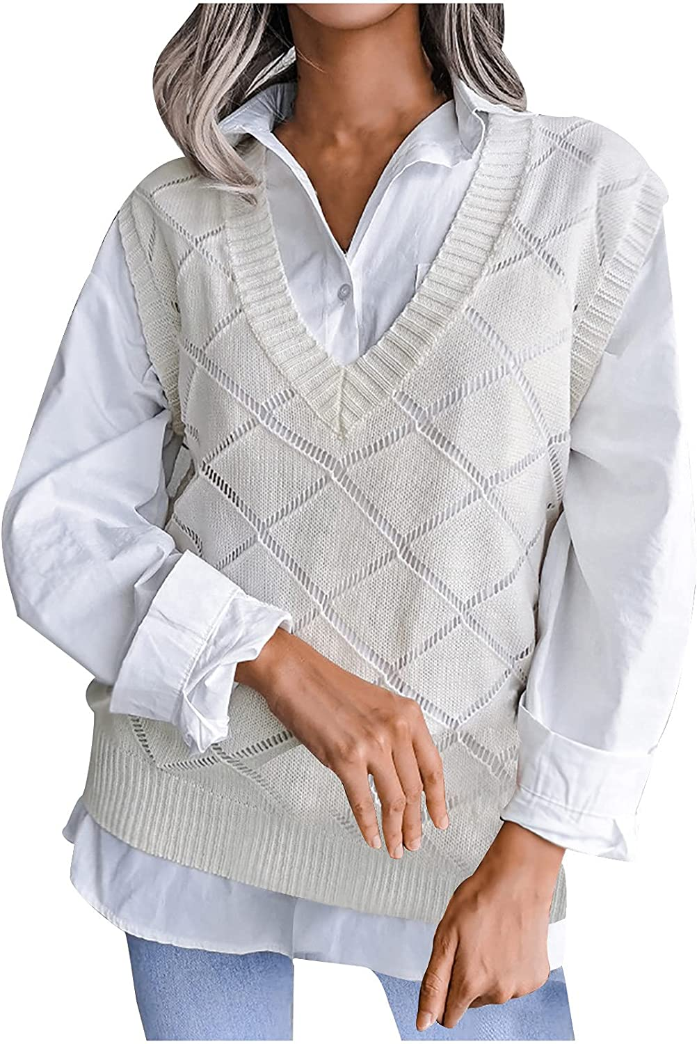 RFNIU Sweater Vest Women Fall Fashion Casual V Neck Hollow Out Diamond Knitted Pulllover Tops To Wear With Shirt