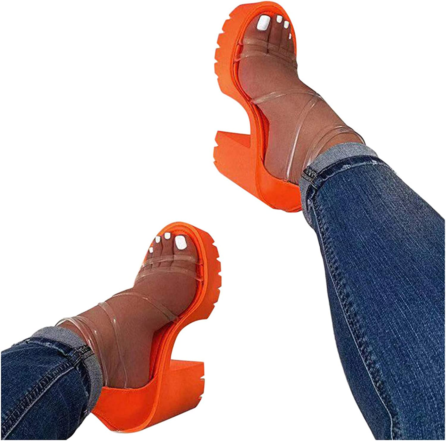 Olymmont Women's Sandals Casual Summer Clear Ankle Strappy Zipper High Heels Open Toe Chunky Heels Outdoor Sexy Platform Sandals (Orange, 9)