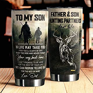 City Barks Tumbler To My Son Hunting Partners Tumbler 20oz Stainless Steel Tumbler with Lid Vacuum Insulated Tumbler Cup D...