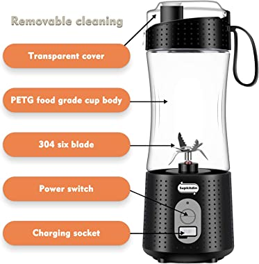 Portable Blender, Supkitdin Personal Size Blender for Smoothies, Juice and Shakes, Mini Blender with Powerful Motor 4000mAh R