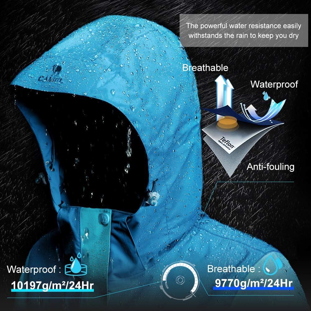 CAMELSPORTS Womens Ski Jackets Waterproof Fleece Snow Coat 3 in 1 Snowboarding Jackets Winter Warm Windbreaker Raincoat