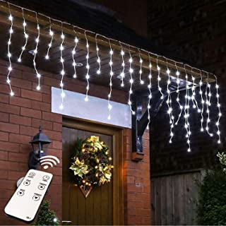 JMEXSUSS Remote Control Icicle Lights, 300LED White Window Curtain Lights for Wedding, Party, Bedroom, Home, Garden, Outdoor, Indoor Wall Decorations