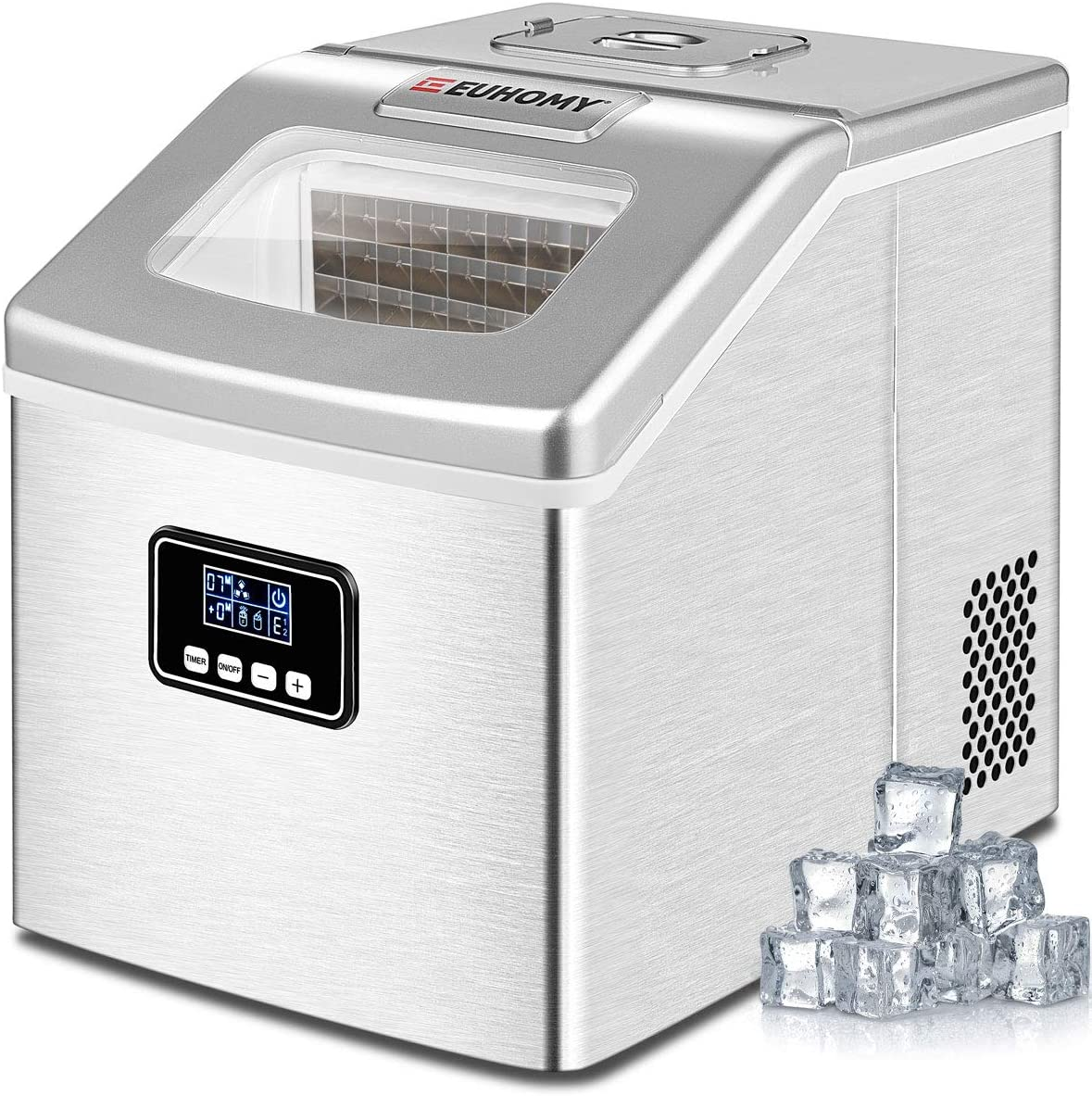 Euhomy Ice Maker Machine Countertop, 40Lbs/24H Auto Self-Cleaning