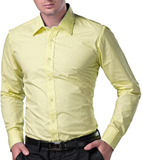 BEING FAB Men's Solid 100% Cotton Regular Fit Casual Yellow Shirt