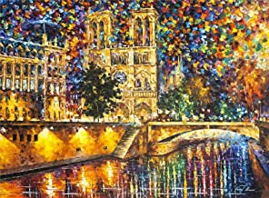 Painting by Numbers Adult Abstract Notre Dame Oil Painting Pre-Printed Canvas Kids Kits Home House Decor-40 * 50cm (Framel...