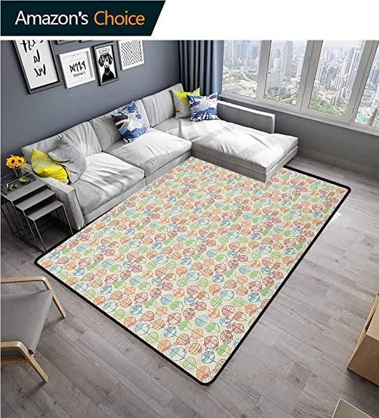 YucouHome Leaves Print Area Rug Underlay Autumn Foliage Pattern With Many Line Art Inspired Arrangement Durable Rugs Living Dinning Office Rooms Bedrrom Hallway Carpet 2 5 X 9