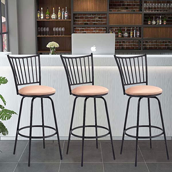 Barstool WATERJOY Set Of 3 Modern Swivel Bar Stool Counter Height Chair Bistro Pub Breakfast Kitchen Stools Chair