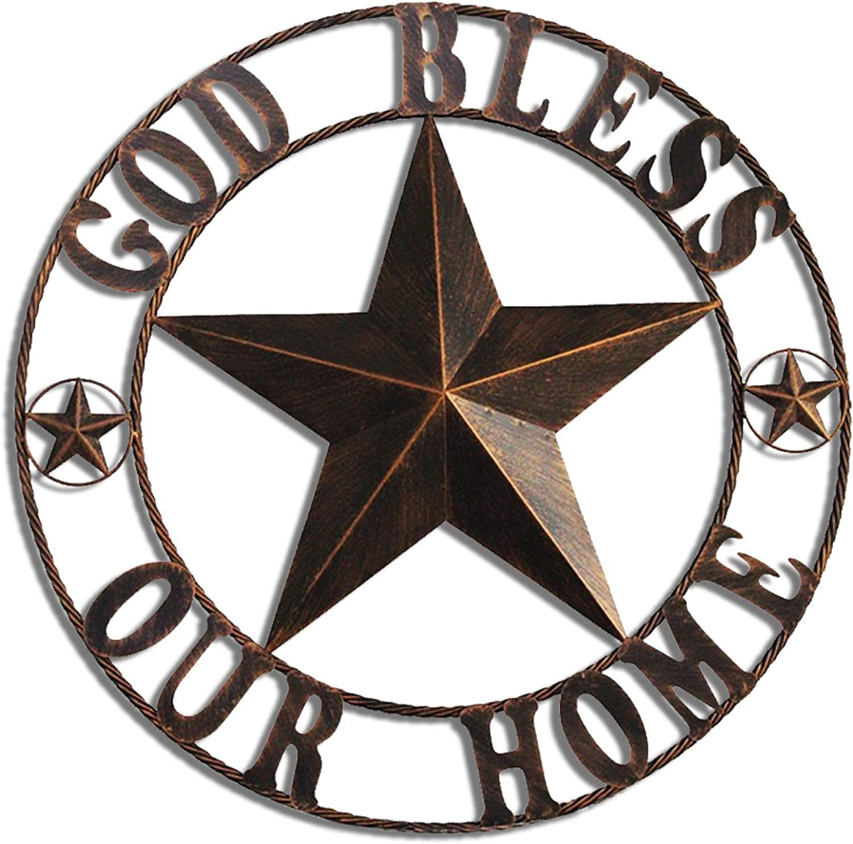 Hot Air Balloon 32  Vintage Dark Brown Classic Metal Circled Star Texas Wall Decor (32  God Bless Our Home)