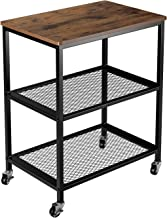 Homfa Industrial Serving Cart, 3-Tier Rolling Cart, Microwave Cart for Kitchen on Wheels with Storage, 2 Mesh Shelves and 2 Lockable Wheels, Wood Look Accent Furniture with Metal Frame-Rustic Brown