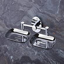 U-S-F BATH ACCESSORIES ARYAN USF Puma 304 Stainless Steel Anti Rust Corrosion-Free Double Dish-Bathroom Soap Holder, Medium (Silver Finish)
