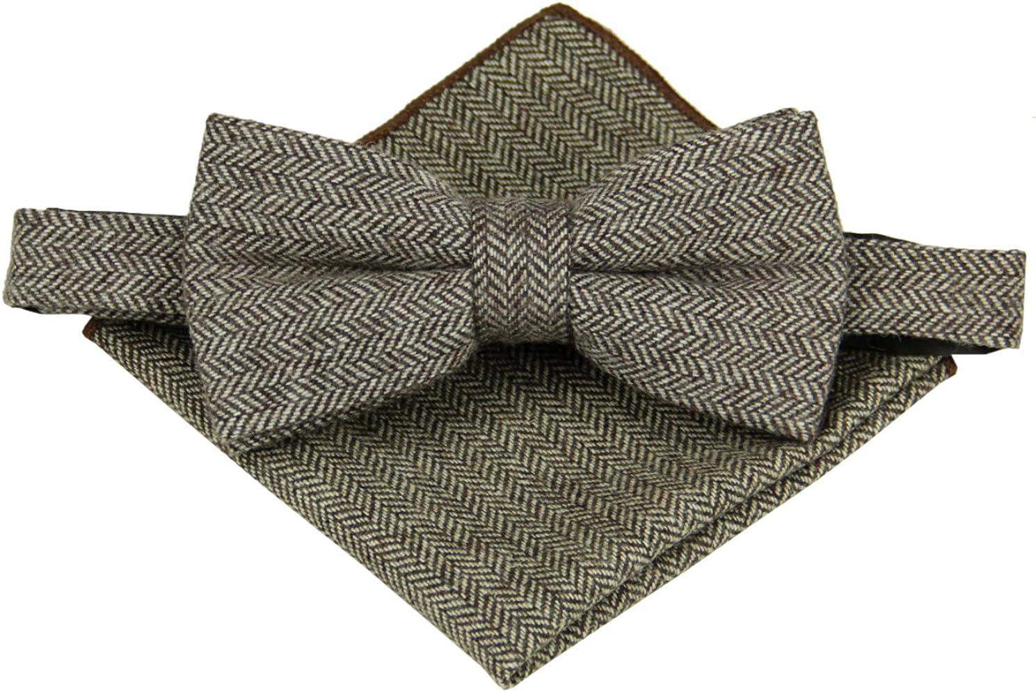Mens Charm Wool Herringbone Bowtie with Matching Pocket Square Set