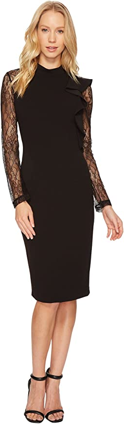 Adrianna Papell - Mock Neck Sheath Lace Dress